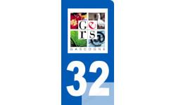 autocollant immatriculation 32 motard du Gers