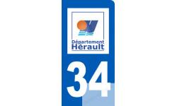 autocollant immatriculation 34 motard de l'Hérault