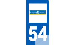 autocollant immatriculation motard 54 de la Meurthe et Moselle