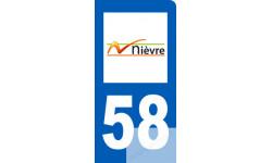 autocollant immatriculation motard 58 de la Nièvre