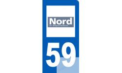 autocollant immatriculation motard 59 du Nord