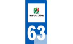 autocollant immatriculation motard 63 du Puy de Dôme