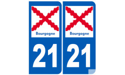 autocollant numéro immatriculation 21 de la Bourgogne