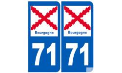 autocollant numéro immatriculation 71 de la Bourgogne