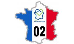sticker autocollant 02 France région Hauts-de-France