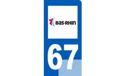 autocollant immatriculation motard 67 du Bas-Rhin