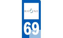 autocollant immatriculation motard 69 du Rhône