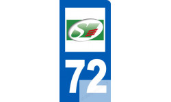 autocollant immatriculation motard 72 de la Sarthe