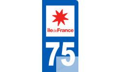 autocollant immatriculation motard 75 Ile de France