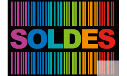 Stickers / autocollant solde ambiance code barre