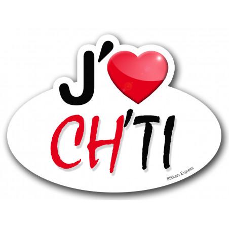 Sticker autocollant j'aime Ch'ti