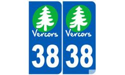 autocollant numéro immatriculation 38 (Isère) Vercors