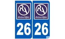 Sticker / autocollant : numéro immatriculation 26 région