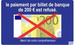 Paiement par billet de 200 euro refusé