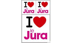 """département du Jura - 3 autocollants """"J'aime"""""""